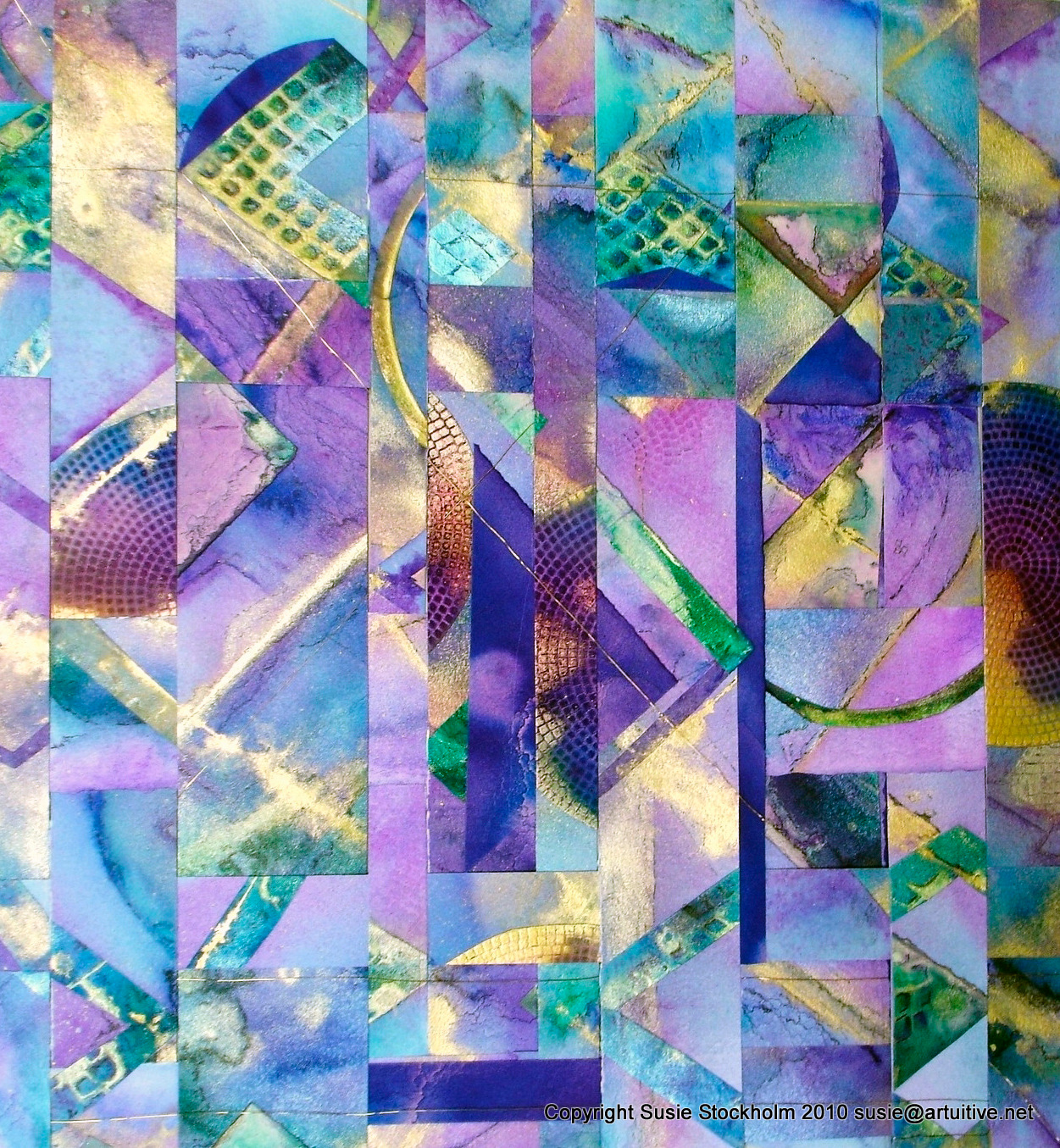 """""""Soulmate"""" - Acrylic Ink on Paper, woven with gold wire."""