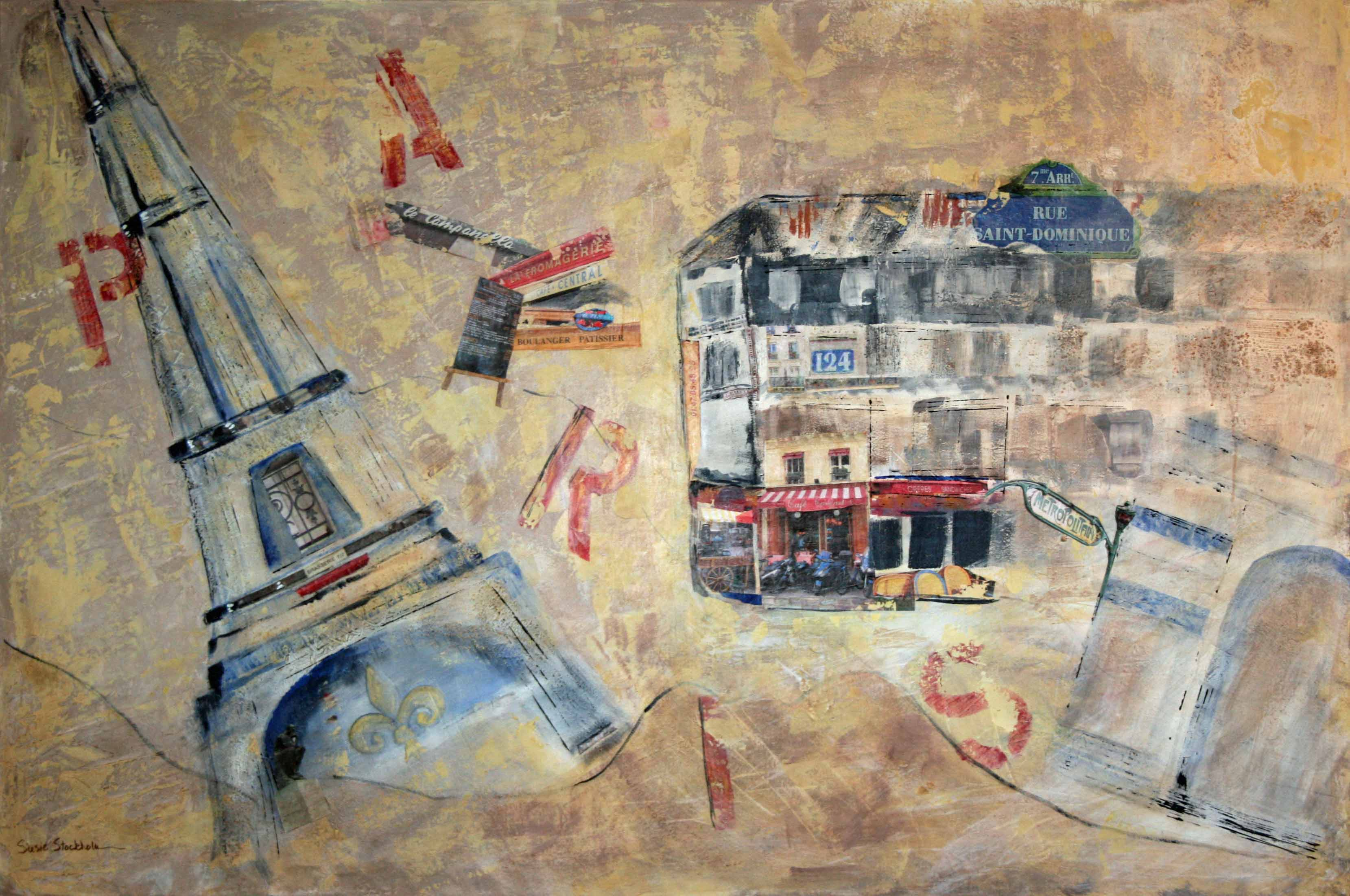 """PARIS"" by Susie Stockholm, collage and acrylic on canvas, 40"" x 60"""