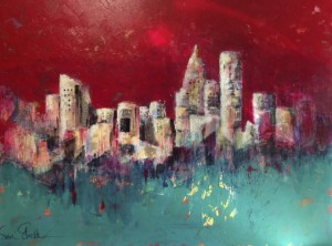 """City of Angels"" - acrylic and collage on canvas, 30 x 40"" SOLD"