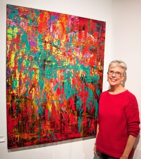 "Susie with ""Alive & Kickin""  Acrylic 50 x 40"" at Showcase Gallery"