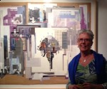 Susie with Tm Gratkowski's collage at Liz's Loft