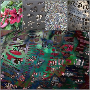 Photo collage from cool sculpture, flora and bits of tile at Palo Alto Art Center
