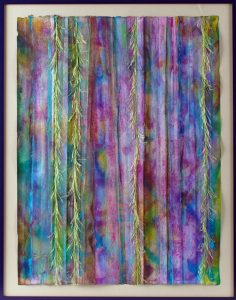 """Enchanted Waterfall"" - Acrylic Ink on Mulberry paper, Eyelash Yarn for texture."